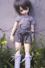 Stirling Among Weeds (almyki) Tags: white ball asian doll skin gray may fairy tiny junior bjd tall abjd joint bluefairy yosd