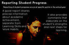 Educational Postcard:  Reporting Student Progress (Ken Whytock) Tags: school work student report year progress skills achievement points learning information comments habits academic reportcard reporting specific elaborate shares precise strengths nextsteps workhabits learningskillsandworkhabits