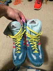 GONE GONE GONE (tms235) Tags: pink yellow vintage wrestling og adidas rare teals wrestlingshoes