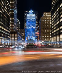 Left Turn (DSC06686) (Michael.Lee.Pics.NYC) Tags: longexposure newyork architecture night sony streetscene lighttrails parkavenue metlifebuilding traffictrails helmsleybuilding voigtlanderheliar15mmf45 a7rm2