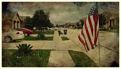 Suburbs {143/366} (therealjoeo) Tags: car texas flag suburbia sidewalk suburbs subdivision slky