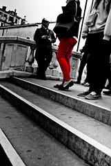 The Red Trousers - Ponte Degli Scalzi, Venice (Faborsky Photography) Tags: camera bridge venice red blackandwhite bw italy woman slr nikon tourist trousers dslr venezia leaning studytour pontedegliscalzi colourselection d80 blackwhitephotos nikond80