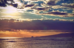 Rays of Light over Waikiki, O'ahu, Hawaii (Vemsteroo) Tags: ocean travel light sunset sea beach 50mm hawaii boat nikon waikiki oahu f14 rays hdr d90