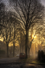 Misty Autumn Morning (sjs.sheffield) Tags: morning november autumn trees leaves sunshine misty sheffield ken edge hazy hdr kenwood 2011 nether photomatix supershot 201111