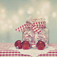 (jljjld) Tags: christmas red holiday candy ornaments redandwhite candyjar ginghamcheck 2011