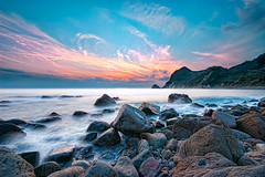IHAMA Rocky beach II (-TommyTsutsui- [nextBlessing]) Tags: longexposure blue autumn light sunset sea sky seascape beach nature yellow rock japan clouds landscape nikon purple dusk magic tide scenic wave shore       izu   ndfilter minamiizu sigma1020   onsalegettyimages