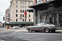 The Sixties in NYC (KlausKniehase / KneeRabbit) Tags: new york city nyc red ford grey town back manhattan district packing fast down meat line shelby mustang sixties meatpacking fastback