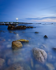 KB2_6556 (Konrad Blum) Tags: ocean blue lighthouse seascape water southafrica twilight nikon rocks tokina d200 westerncape pringlebay hangklip 1116mm