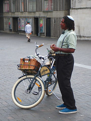 Standing Man with Blue Shoes (Kombizz) Tags: 096 kombizz electra bycle standingman aliyah standingmanwithblueshoes standing man with blue shoes blueshoes yosef tire wheels basket kippah kipa jew jewish africanjew yarmulke yiddish kapele emispherical plattershapedhead orthodoxjewish orthodox jewishlaw halachicauthorities halachic authorities synagogue custom kiddush hashem kiddushhashem davidhalevisegal rabbihayimyosefdavidazulai midathasidut piety taz shulchanaruchbyrabbidavidbenshemuelhalevi ovadiayosef talmud rabbi shulchanarukh jewishmen bareheaded mishnahberurah achronim cubits shabbat ravnachmanbaryitzchok vilnagaon chassidus rabbiisaacklein isaacwise london uk