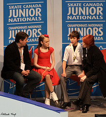 Desveaux & Razgulajevs in the Kiss & Cry (Melanie Heaney) Tags: sports action coaching figureskating icedance kissandcry carollane dmitrerazgulajevs jurisrazgulajevs 2011canadians katiedesveaux