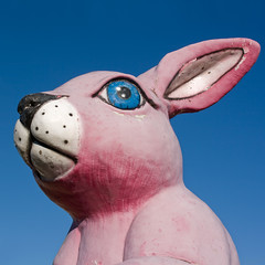 Giant Pink Bunny (smacdaddy (Scott MacInnis)) Tags: old pink blue sky color colors sign rural america georgia funny colorful peeling paint afternoon roswell nostalgia forgotten american worn lone nostalgic americana weathered rps unusual bizarre beautifuldecay