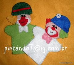 Patati patata - dedoche (Mônica Pintando7) Tags: boneco circo felt feltro festa palhaço fantoche lembrancinha pintando7 centrodemesa dedoche pesodeporta palhaçozica