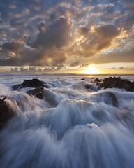 Feeling Alive (Joe Rainbow) Tags: sunset sea seascape water landscape movement rocks action rush gunwalloe landscapesshotinportraitformat