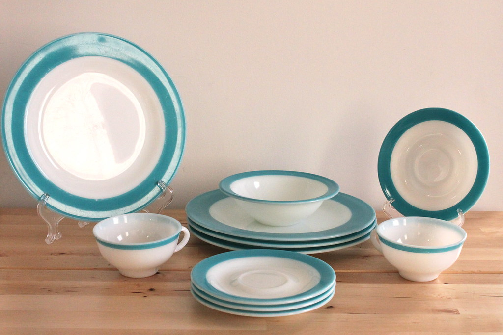 Pyrex Turquoise Band Dinnerware (KitchenCulinaria) Tags blue vintage restaurant aqua turquoise plates dishes & The World\u0027s Best Photos by KitchenCulinaria - Flickr Hive Mind