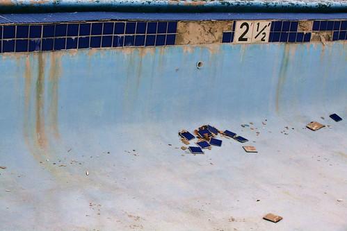Outdoor pool cracked tiles