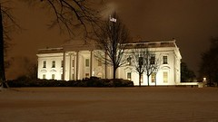 White House illuminated at night with snow (Sir Francis Canker Photography ) Tags: christmas xmas trip travel panorama usa snow tourism monument skyline architecture night arlington america mall noche virginia us photo dc washington bush memorial exposure rooms cityscape state monumento clinton flag united pr