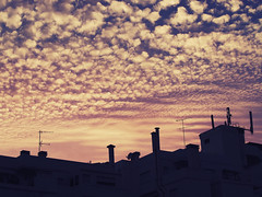 Sunset Over Apartments in Praia Da Luz - Portugal (SRHart (84)) Tags: pink light sunset shadow red summer urban hot beach portugal silhouette architecture clouds contrast vintage soft award sunsets architectural sunrises storms angular strongcontrast lightpattern smallclouds flickrdiamond