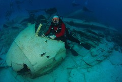 First time at the controls of a DC-3, too bad it was at the bottom of the ocean! (steve_southerland) Tags: scuba bahamas nassau dc3