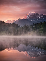 Refuge (andywon) Tags: trees light red sky house mist lake mountains alps nature water colors clouds sunrise reflections germany landscape bavaria mirror hut karwendel wallgau explored geroldsee wagenbrchsee
