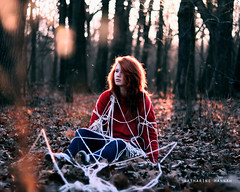 Miles can't cut this tie we've made. (Katharine Hannah.) Tags: trees light sunset music selfportrait forest lyrics bokeh rope hawthorneheights