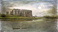 The castle, the river, the moon (mojacobs) Tags: castle wales cymru textured carew sirbenfro