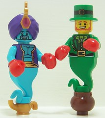 Let's Get It On (Silenced_pp7) Tags: irish 6 lamp gold golden lego magic pot gloves luck lucky boxer series boxing custom six vignette charms leprechauns genie leprechaun moc genies potofgold series5 series6 seriesfive