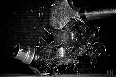 Super, Smashing, Great! (51/365) (Jchales.co.uk) Tags: white black lightbulb hammer project slow great super days shutter 365 smashed shattered vignette smashing strobist nooffcameraflash canonefs55250mmf456isii