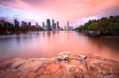 After the Rain - Comes the Fire (Ben Cue) Tags: city pink sunset storm rain boats high rocks skyscrapers dusk brisbane cliffs rise brisbaneriver brisbanecity cityskyline moorings kangaroopoint foregroundinterest bencue