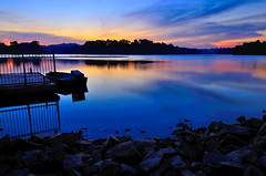 For the beauty of the earth (Rebecca Ang) Tags: longexposure nightphotography blue light color reflection nature water colors night reflections dark landscape lights golden boat nikon singapore calm reflect orangesky bluehour afterdark slowexposure thebluehour delayedexposure duskphotography lowerpeirce d7000 nikond7000