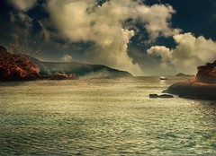 The Village ~ Santorini V (Chariots_of_Artists) Tags: sea mist clouds island volcano boat rocks santorini greece volcanic magicunicornverybest musictomyeyeslevel1