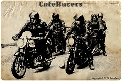 Caf Racers (=RetroTwin=) Tags: old art classic texture illustration vintage poster cafe artwork oldstyle graphic twin manipulation retro motorbike triumph motorcycle layer british plakat bonneville 900 caferacer rockers racer motorrad thruxton tonup caferacers lostillusion75 retrotwin motoriousbastards