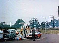 1963 Garage Forecourt (colinfpickett) Tags: old money 1930s airport memories streetscene nostalgia nostalgic british 1960s coaches airliner delivering pocketmoney