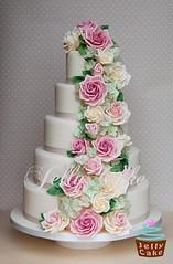 Rose and Hydrangea Cascade Wedding Cake (www.jellycake.co.uk) Tags: pink wedding green rose cake 5 ivory hydrangea peggy wiltshire cascade dusky tier porschen jellycake wwwjellycakecouk