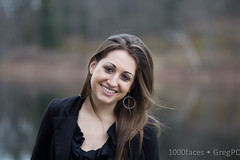 Face - smiling woman with long hair by the Charles River (GregPC) Tags: woman water smile face river hair earring pale colleague 1000faces