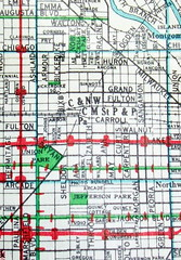 Chicago IL 1943 (davecito) Tags: red chicago green catchycolors illinois map cities 1940s planning transportation cartography geography urbanplanning drafting redandgreen streetmap citymap oldmaps largestcities hearnebrothers