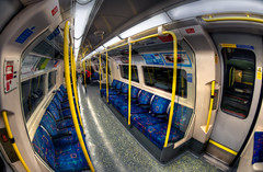 What Have I Done? (Sean Batten) Tags: uk blue england london yellow subway carriage tube fisheye seats londonunderground hdr northernline