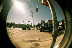 Crosswalk (JacquelineTorres) Tags: road street city bridge sun color tree guy cars film girl sunglasses portraits vintage austin landscape photography graffiti lomo colorful downtown texas view traffic sunny busstop fisheye austintexas shops mohawk crosswalk 360bridge lomofisheye