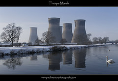 Thorpe Marsh (Paul Simpson Photography) Tags: uk trees winter england snow cold reflection bird nature water reflections river canal swan engineering chilly chimneys waterway calmness whitebird southyorkshire coolingtowers riverdon naturephotos energyproduction indistrial thorpemarshpowerstation riverdun barnbydunn photosofnature february2012 paulsimpsonphotography photosofindustry riverdunnavigation