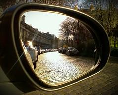 Crescent Reflection (CarnivoreDaddy) Tags: cameraphone city uk urban reflection scotland edinburgh cellphone crescent stockbridge cobbles htc wingmirror doormirror flickrandroidapp:filter=none htcdesirex