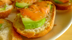 Baguette Sandwich with Smoked Salmon and Avocado (AC02 Works) Tags: bread shanghai salmon plate sandwich baguette  smokedsalmon smoked avacado alligatorpear  perseaamericana