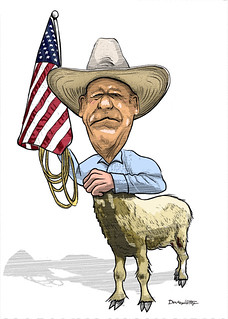 Cloven Bundy or Clivan Bundy? FOX News made this terrorist tax cheat a modern-day patriot, but when Bundy turned racist, Sean Hannity et al, ran for the Nevada hills., From ImagesAttr