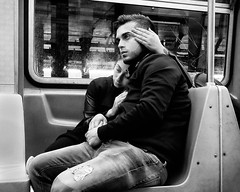 Somewhere there's a time for us, time together with time to spare (mkc609) Tags: street nyc newyorkcity urban blackandwhite bw newyork subway blackwhite couple fuji candid streetphotography 14mm xt1