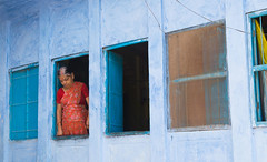 five in one (durgeshnandini) Tags: city blue windows woman india one five jodhpur
