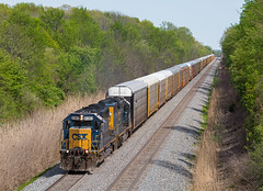 Q299-16 @ Boughtonville, OH (SDfourD) Tags: emd sd402 sd40 csxtransportation darkfuture yn3 q299 yn3b straight40 csxt8383 co7524 crr3023 csxtwillardterminalsubdivision boughtonvilleoh