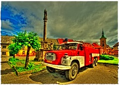 fire truck in Kravae (curapajznik) Tags: tree church clouds czech pillar firetruck czechrepublic hdr graber nationalgeographic tatra kravare ringexcellence