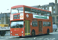 London Transport . DMS648 MLK648L . Aldgate  10th-June-1981 . (AndrewHA's) Tags: bus aldgate daimler trolleybus fleetline londonbus londontransport woodgreen 647 route67 crg6 dms648 mlk648l
