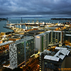 Auckland, New Zealand (Ed Kruger) Tags: ocean street city blue windows light sea newzealand sky seascape storm reflection water architecture night port buildings grey evening boat waves ship cityscape horizon january wave vessel auckland nz boating northisland kiwi 2008 aotearoa allrightsreserved admiralty cityscene skyphoto cargoship photocity portsofauckland shipphoto top20nz newzealandphoto edkruger photoofocean photoofnewzealand photosofthesky