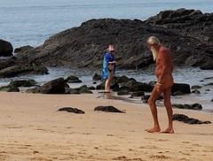 what to wear on the beach (eleda 1) Tags: sea beach hat yoga beard rocks goa bikini thong anjuna barefeet sunkissed tanned beachwear