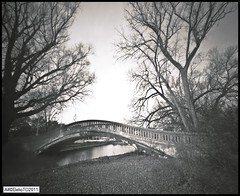 The Lagoon Theater Bridge (DelioTO) Tags: wood city winter toronto ontario canada blackwhite december trails pinhole 8x10 shanghai100 f317 wardsisl