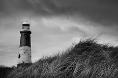 Spurn Point (Boyd Hunt) Tags: bw lighthouse storm beach grass point mono wind head dunes spurn